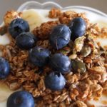 Photo: bowl of yogurt with granola and blueberries