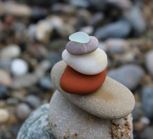 Photo: stack of different size and color stress relief rocks