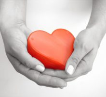 Photo: red heart being held in hands