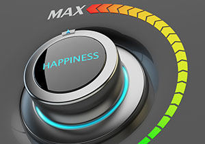 The word happiness in a dial that can go from minimum to maximum