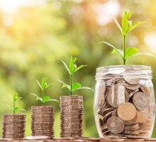 stock image of stacks of coins and jar of coins with plants growing out of them